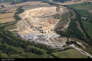 E6P7D4 aerial view of Coxhoe Quarry run by Tarmac Northern & site of Hope Construction Materials, near Durham, UK
